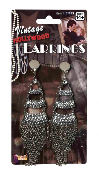 Victorian Rhinestone + Chain Earrings Vintage 18th Century Dickensian Edwardian